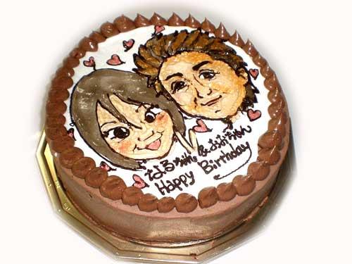 誕生日に似顔絵ケーキ