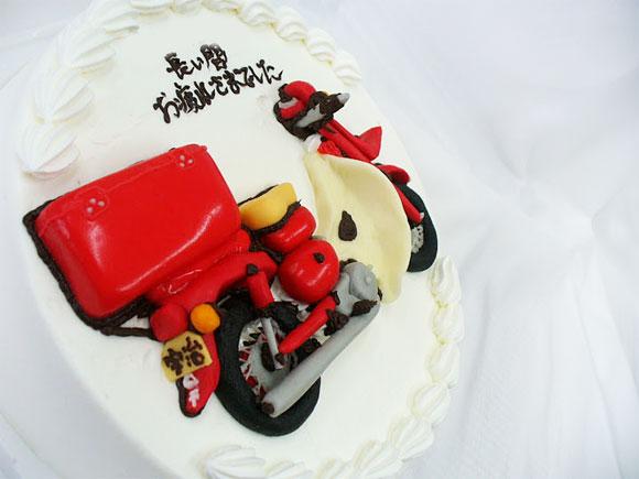 バイクのケーキ・郵便配達用バイク