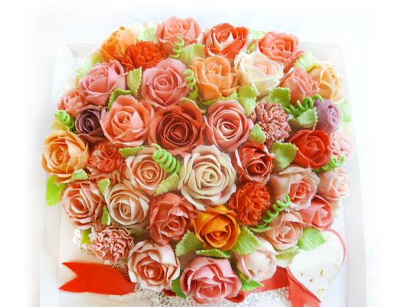 3Dケーキ バラの花のブーケ