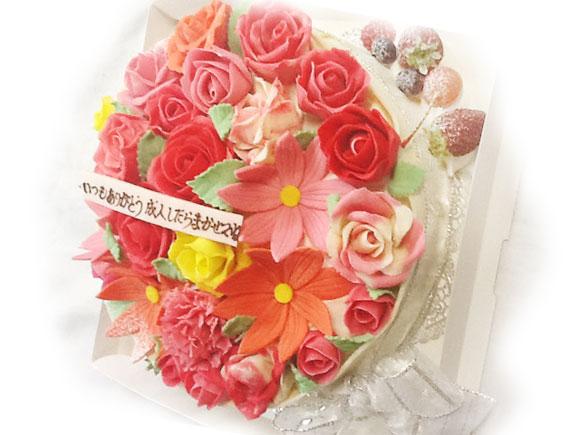 花のデコレーションケーキ