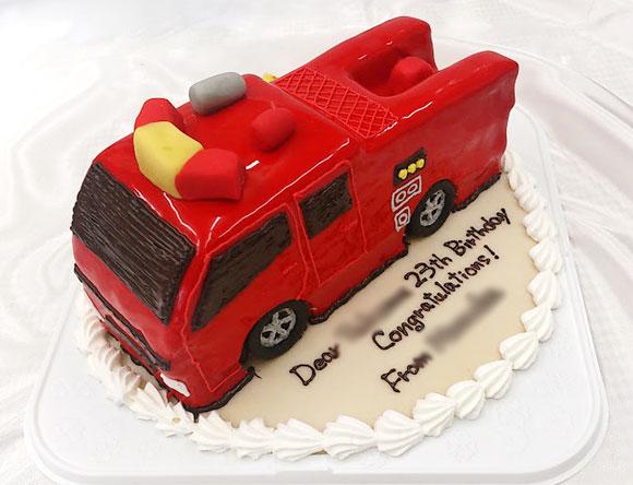 消防車 3Dケーキ