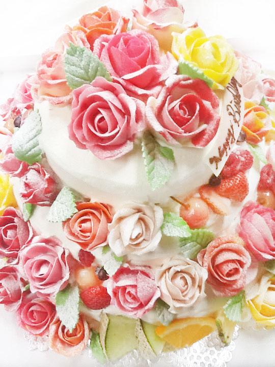 誕生日プレゼント バラのデコレーションケーキ