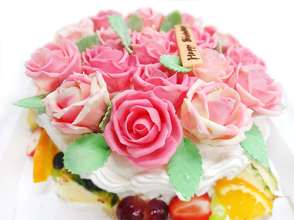 バラの花デコレーションケーキ
