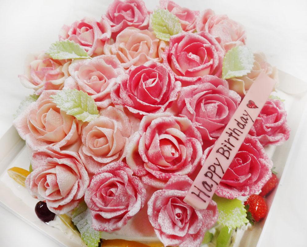 オーダーケーキ バラのデコレーション