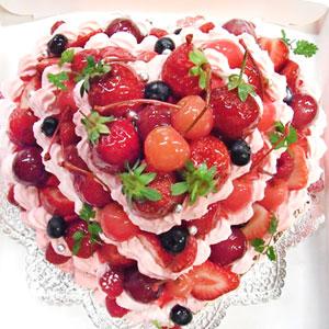 オーダーケーキ ハート型デコレーションケーキ