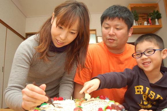 ケーキに署名1