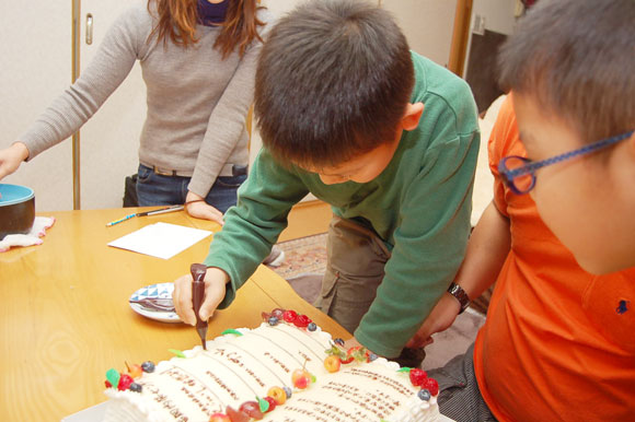 ケーキに署名3