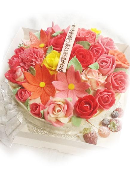 花のブーケのデコレーションケーキ