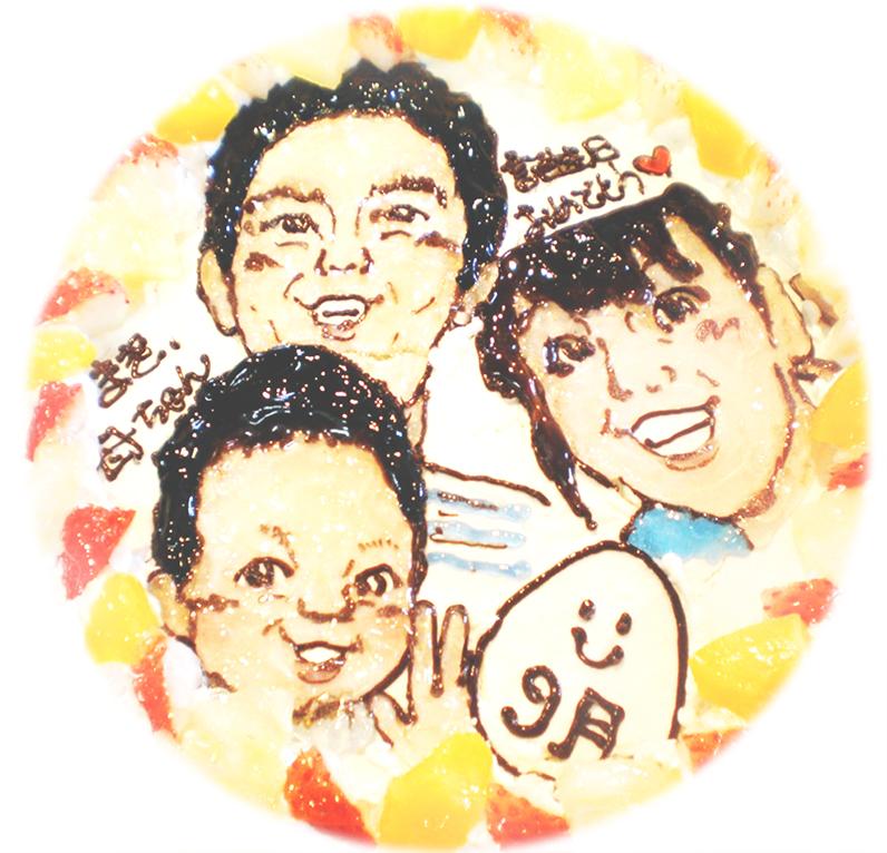 家族の似顔絵ケーキ13
