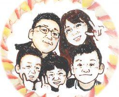 家族の似顔絵ケーキ2019