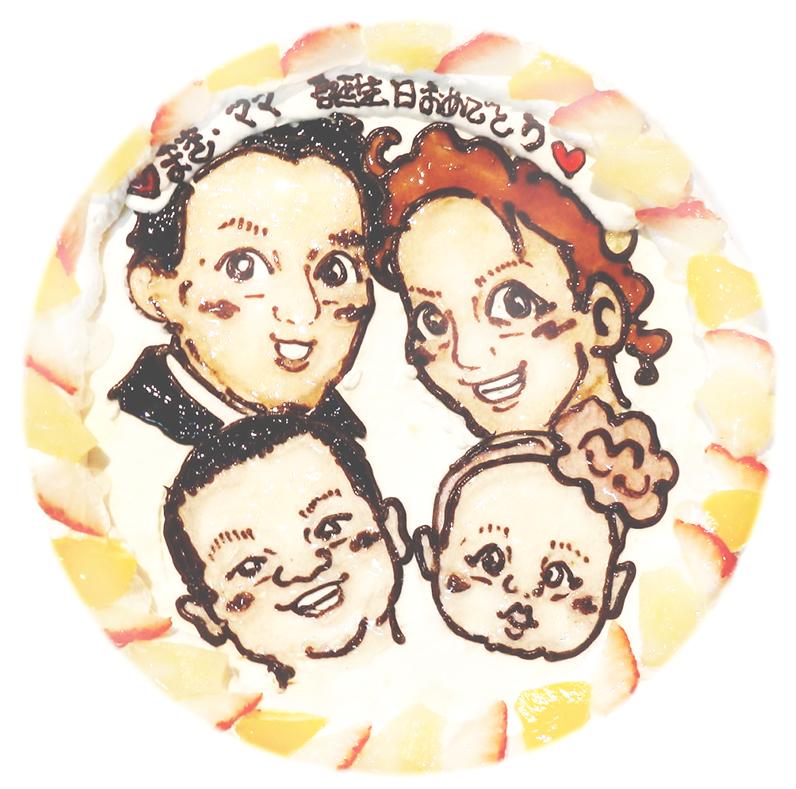家族の似顔絵ケーキ2014