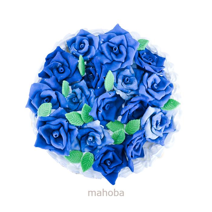 青いバラのケーキ