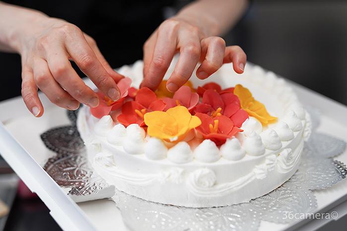 ハイビスカスのケーキ制作風景6