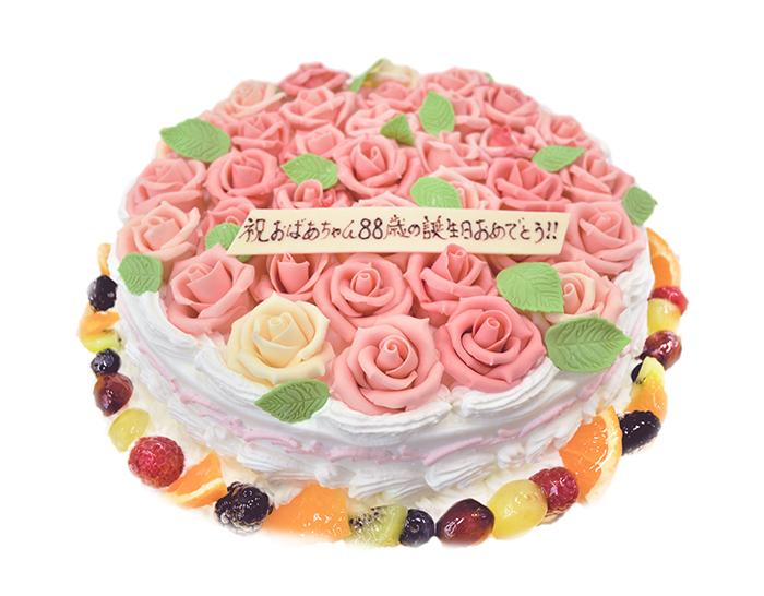 バラのケーキ-誕生日